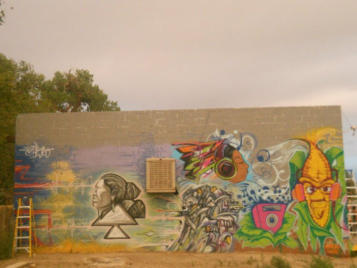 Graffiti workshop Mural for Rethink Dine' Power in Shiprock, New Mexico From the left Phobs, JCBL and myself rockin the cobman! Click the pic to see more...