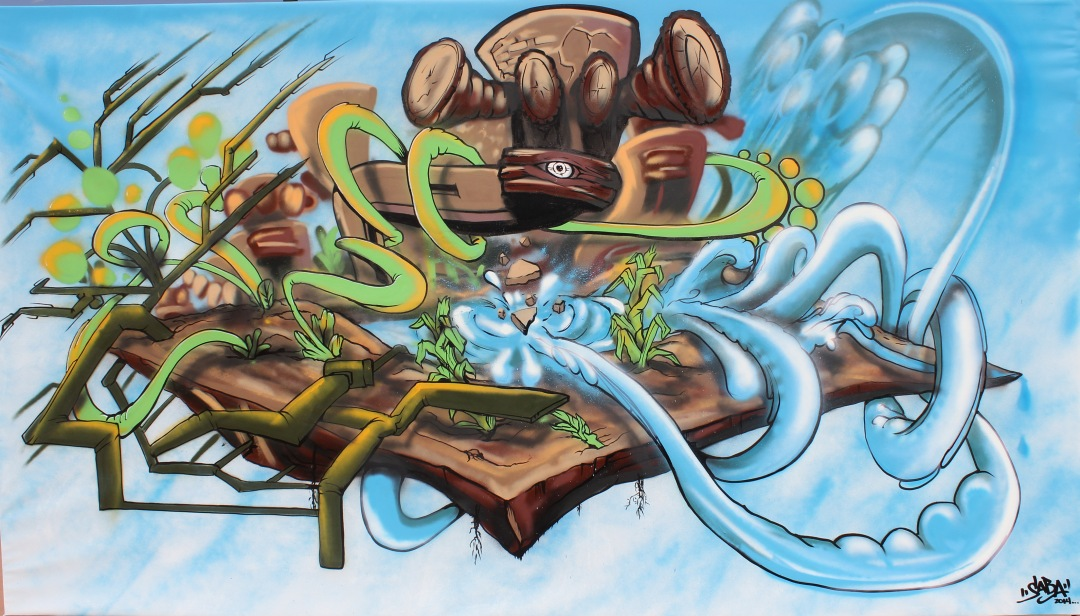 """The Ripple Effect"" Arrowsoul & Krink on Canvas Painted Live during Chicanitas Art opening at the Las Cruces Museum of Art."