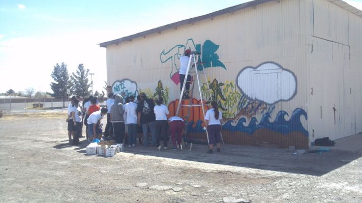 Ysleta Del Sur Pueblo Mural with the youth. Nation Building Project.