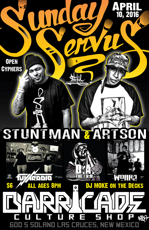 Sunday-Servus-Barricade-Culture-Shop-Artson-Stuntman-April-2016